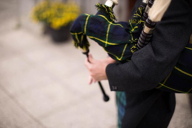 Wedding Photography Doonbeg Ireland, bagpiper
