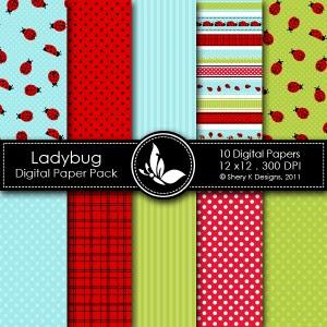 Free Ladybug Digital Paper Pack