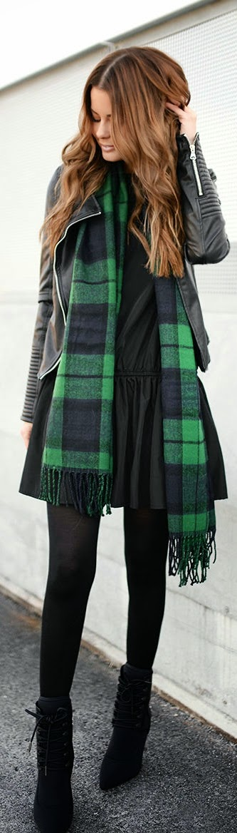 Black and Green Plaid Scarf with Leather Moto | Chic Street Outfits