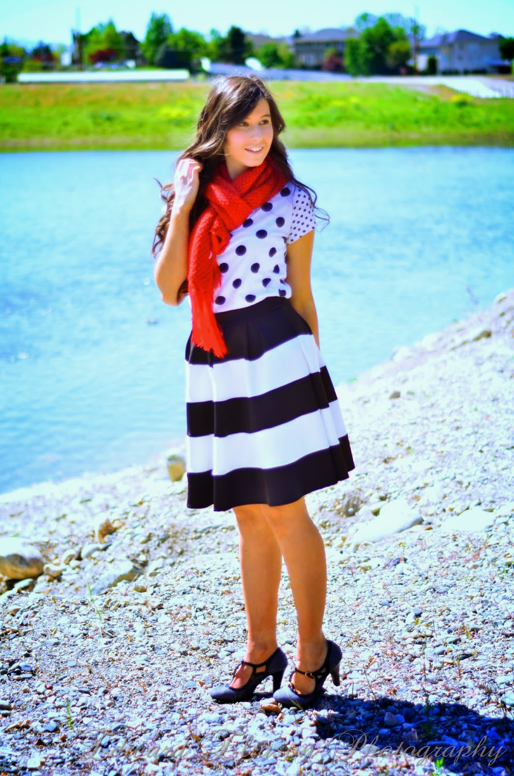 striped a line skirt, edward eliason photography, windsor store, red scarf, downeast basics, forever 21, polka dot, mix and match, mixing patterns, patern mixing, outfit,