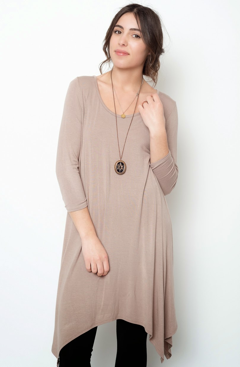 Buy online taupe asymmetrical oversized hem tee dress for women on sale