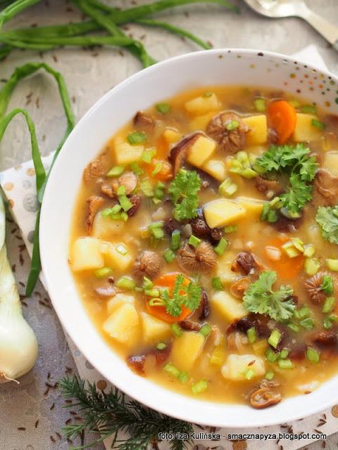 zupa grzybowa z zimówkami aksamitnotrzonowymi , zupa grzybowa z płomiennicami zimowymi , zimówki aksamitnotrzonowe , płomiennice zimowe , obiad , z grzybami , grzyby , zimowe grzybobranie , kuchnia polska , domowe jedzenie , najlepsze przepisy , z warzywami , kartoflanka ,