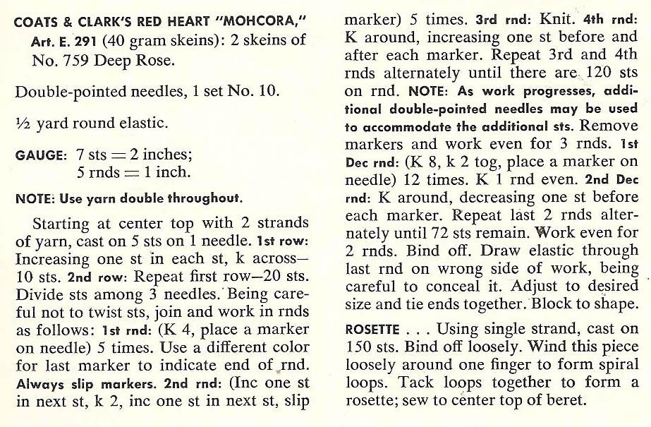 Vintage Knit Crochet Shop Talk: Misses Beret Hat, Free Knitting Pattern