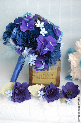 midnight blue wedding paper flowers bouquet