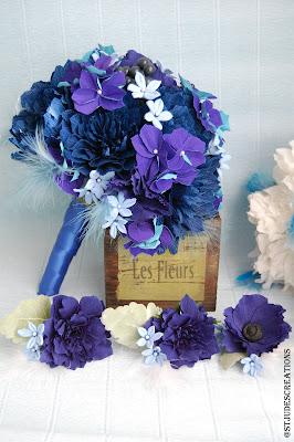 midnight blue wedding paper flowers bouquet