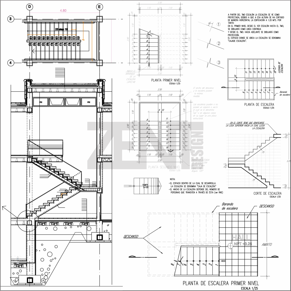 Zent design 2d escaleras de concreto planos for Escaleras metalicas planos