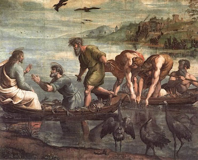 Miraculous catch of fishes - Artist unknown