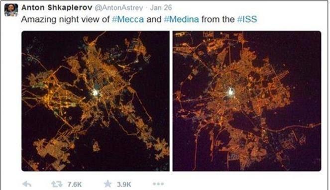 [FOTO] KOSMONOT RUSIA TAKJUB MELIHAT MEKAH MADINAH DARI LUAR ANGKASA