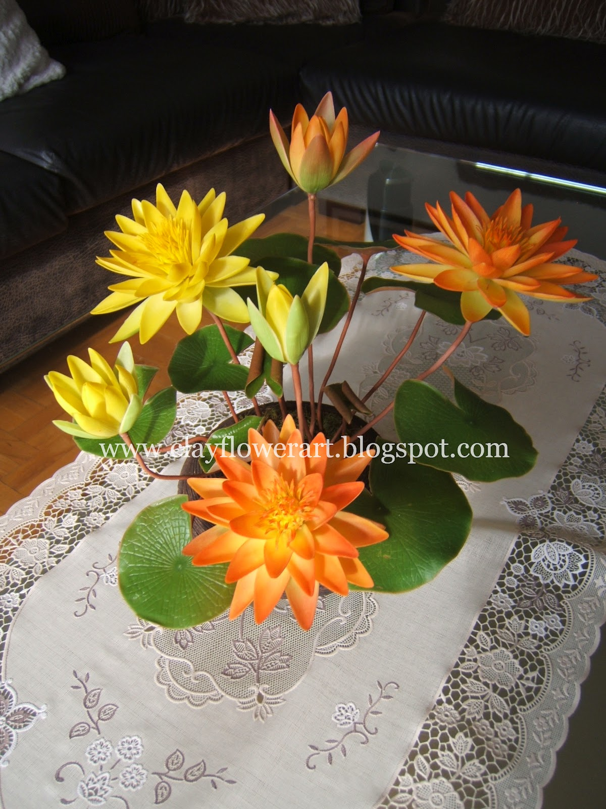 Water lily thai clay flowers clay flower art water lily thai clay flowers izmirmasajfo Gallery