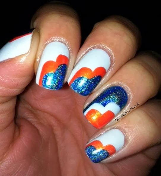 ... Broncos made it in! I decided to try some nail art that I've seen out  in the community for a while now that seemed pretty easy and sure enough it  was. - Sunshine Nails: Super Bowl Sunday Bronco Nail Art!