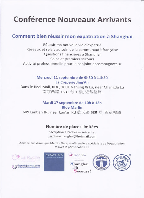 Flyer Conference Nouveaux Arrivants a Shanghai