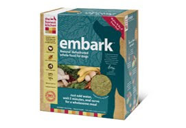 green colored box of embark dog food