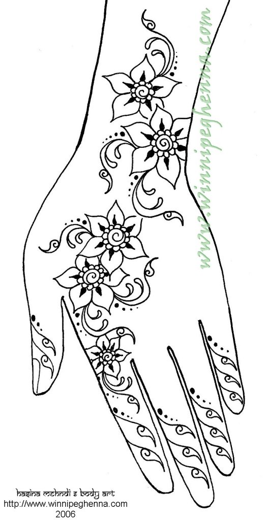 Mehndi Hand Outline : Mehndi outline designs for hands makedes