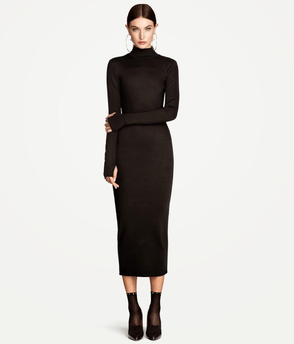 black polo neck dress, black long knit dress,