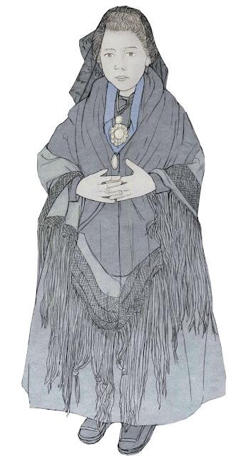 niña con manton, años 20,  dibujo