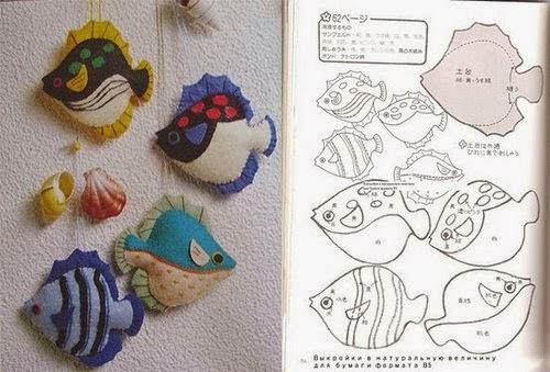 Moldes para fazer peixinhos de feltro