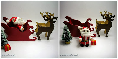 "My 3"" sleigh & reindeer prototypes with Santa mouse by Kirsten"