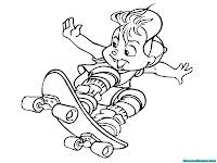Mewarnai Gambar Alvin Chipmunks Bermain Papan Seluncur