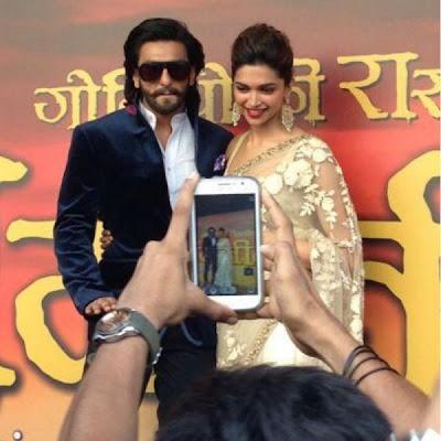 Deepika Padukone and Ranveer Singh at the Ram Leela First Look launch