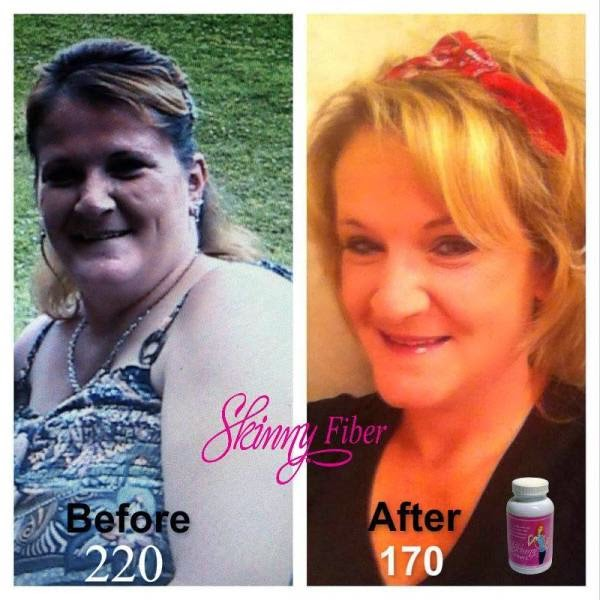 She lost 50 pounds with Skinny Fiber; from 220 pounds to 170 pounds and is keeping the weight off!