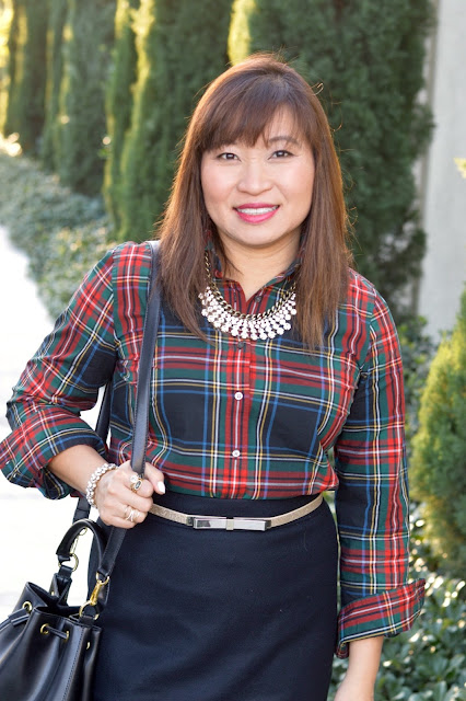J Crew Perfect shirt in Stewart plaid, J Crew No2 Pencil skirt