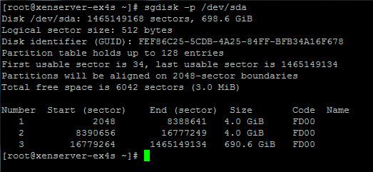 Вывод команды sgdisk -p /dev/sda