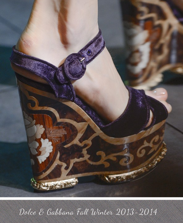 Dolce and Gabbana Wooden Inlaid Wedge Shoe Fall Winter 2013