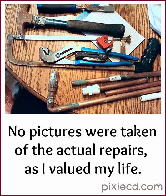 No pictures were taken of the actual repairs, as I valued my life.