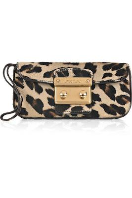 Miu Miu Leopard-print calf hair clutch