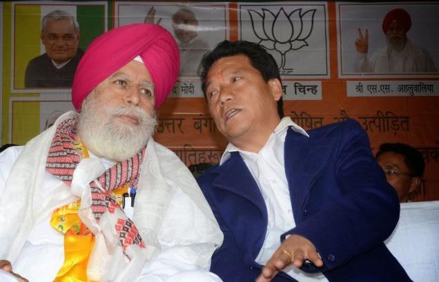 GJM president Bimal Gurung with Darjeeling BJP candidate S.S. Ahluwalia