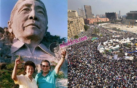 patung Ferdinand Marcos dan people power Filipina