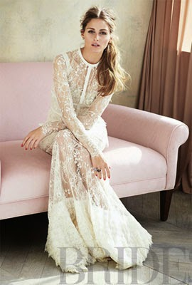 vestido de casamento Elie Saab com Olivia Palermo para revista Brides Magazine