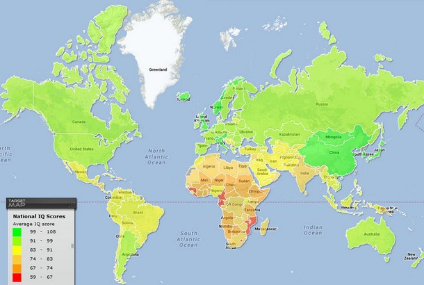 World Map of National IQ Scores