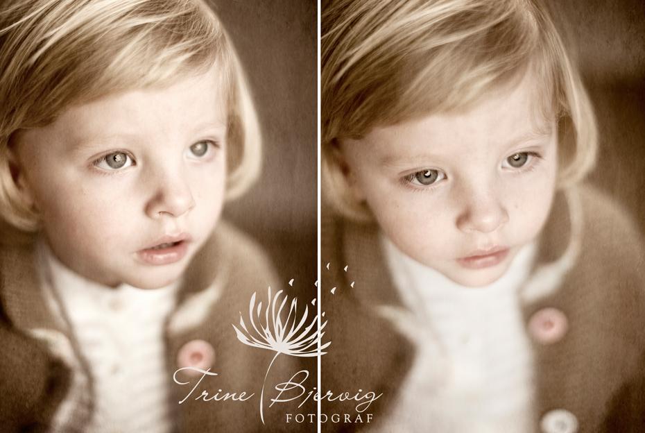 Barnefotografering med tankefult utrykk. Barnefotograf Trine Bjervig tønsberg