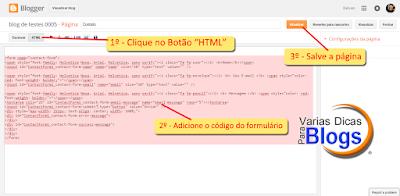 Como adicionar formulário de contato em uma determinada página do Blog