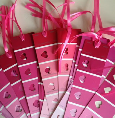 Fern Smith's Classroom Ideas Easy Heart Decorations and Cute, Free Bookmarks from Paint Sample Cards for Valentine's Day!
