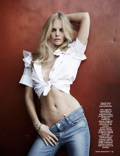 Marloes Horst sexy stomach for Vogue Netherlands June 2015