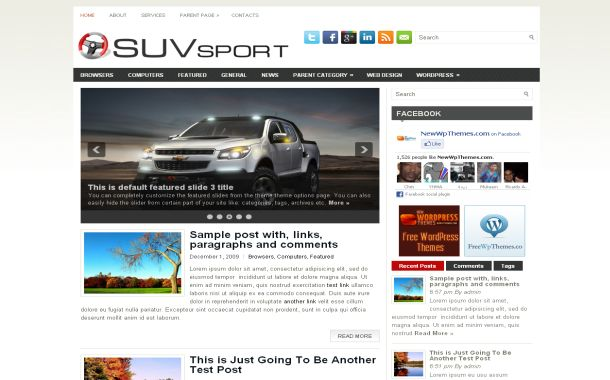 Sport Cars Jquery Free Wordpress Theme Template