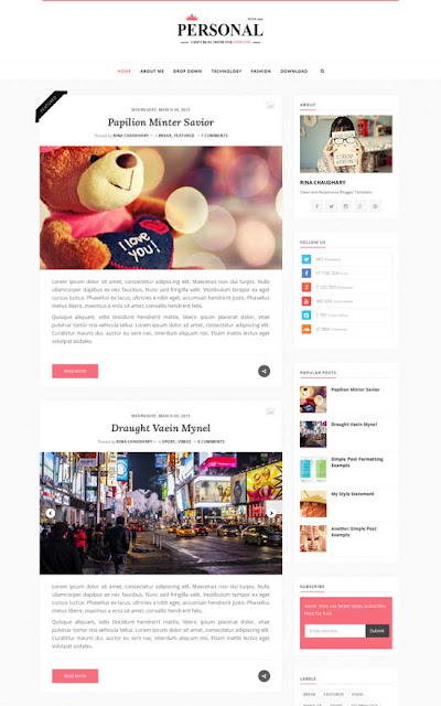 Best Simple Blogger Template for Personal Blogs