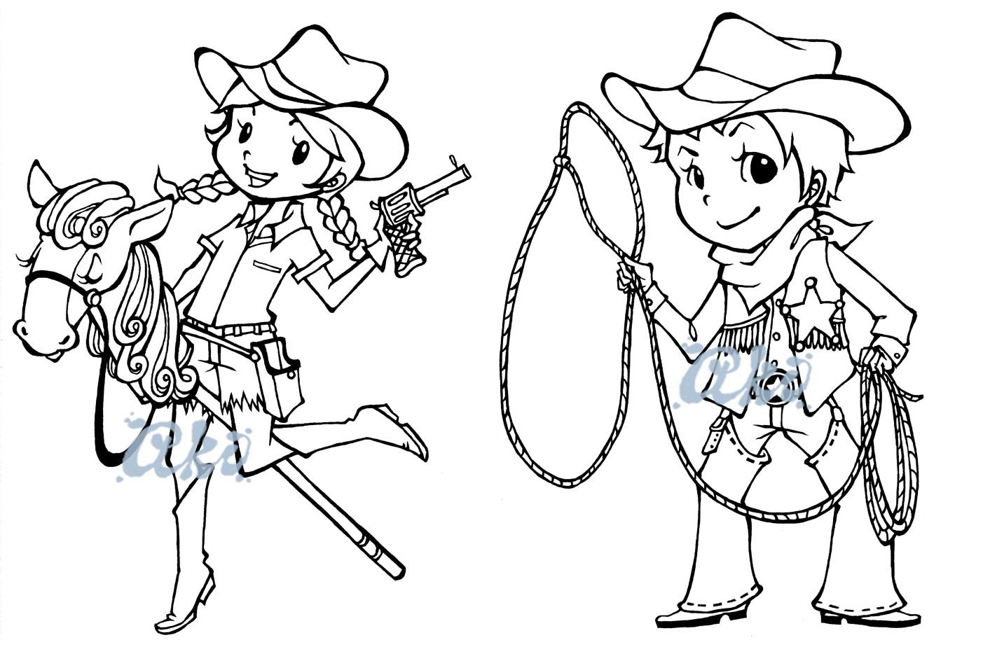 Aki art sparkle creations rubber stamps releases for Cowboy and cowgirl coloring pages