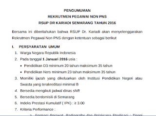Rekrutmen Pegawai Non PNS RSUP Dr Kariadi Semarang