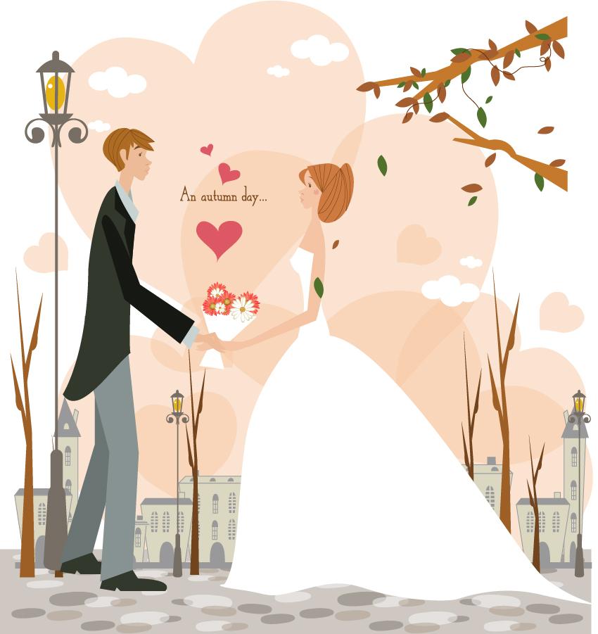 ロマンチックな結婚式のカップル romantic weddings couples イラスト素材