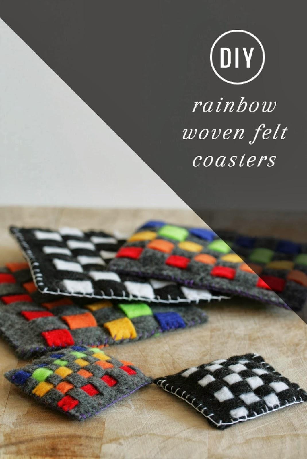 diy rainbow woven felt coasters   handy diy
