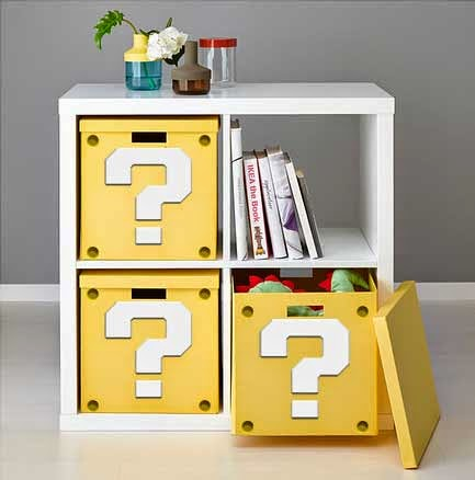 my super mario boy make your own mario question mark block shelf. Black Bedroom Furniture Sets. Home Design Ideas