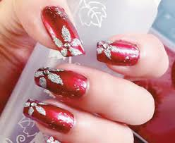 Red Nail Art with Silver Flowers
