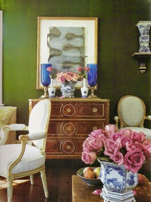 traditional formal living room green lacquer walls