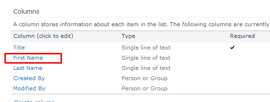 "Under ""Columns"" section click on desired column name"