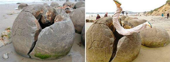 غرائب شاهدت صخور كروية تثير