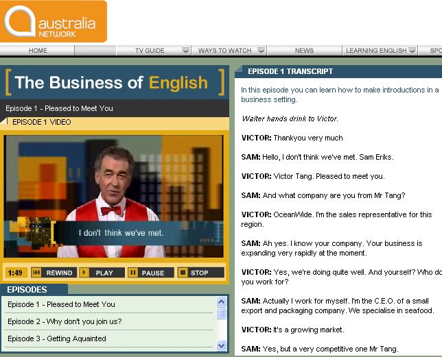 Australia Network - Learn English - The English Blog