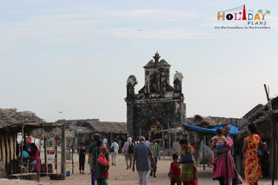Church in ruins in dhanushkodi